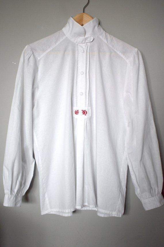 df66c3e9 Vintage 90's white dirndl shirt/ Embroidered half button-up shirt/ Casual  cotton blouse/Stand-up col