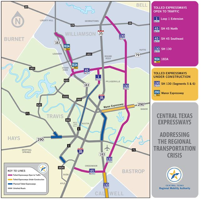Seguin Texas Toll Road Map Central Texas Expressways Map Click - Map of us toll roads