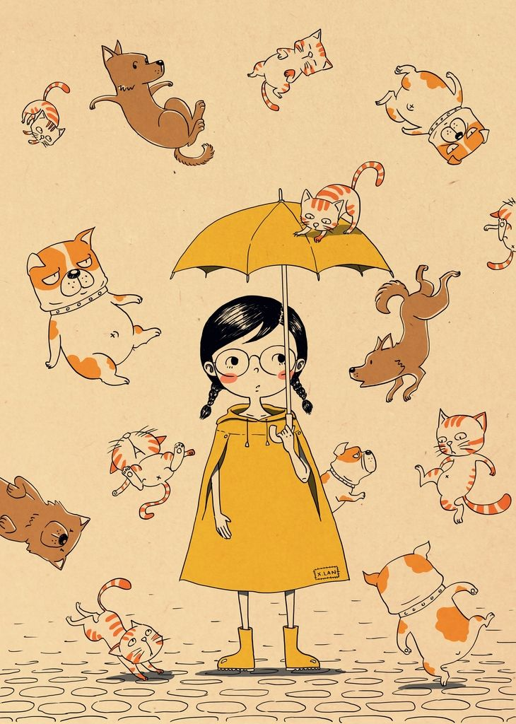 It S Raining Cats And Dogs With Images Cat And Dog Drawing