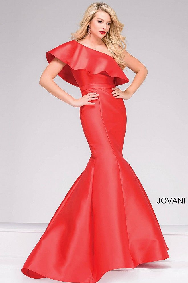 Elegant red floor length mermaid prom dress features one shoulder ...