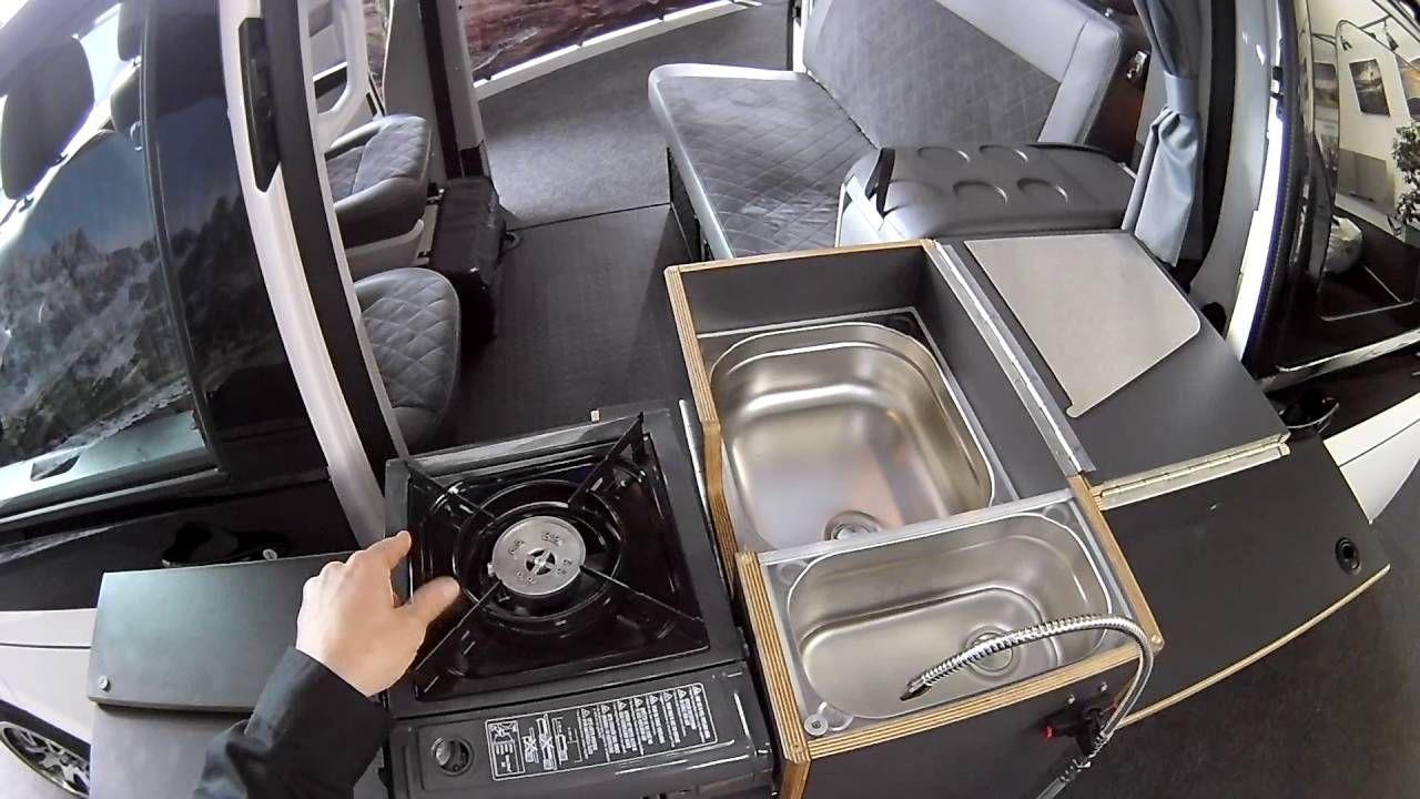 spacecamper open k che au en doppelt rer bulli mit herausschwenkbarer camper vans. Black Bedroom Furniture Sets. Home Design Ideas