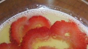 champagne punch. champagne, ginger ale, orange juice,seltzer water and floating strawberries.