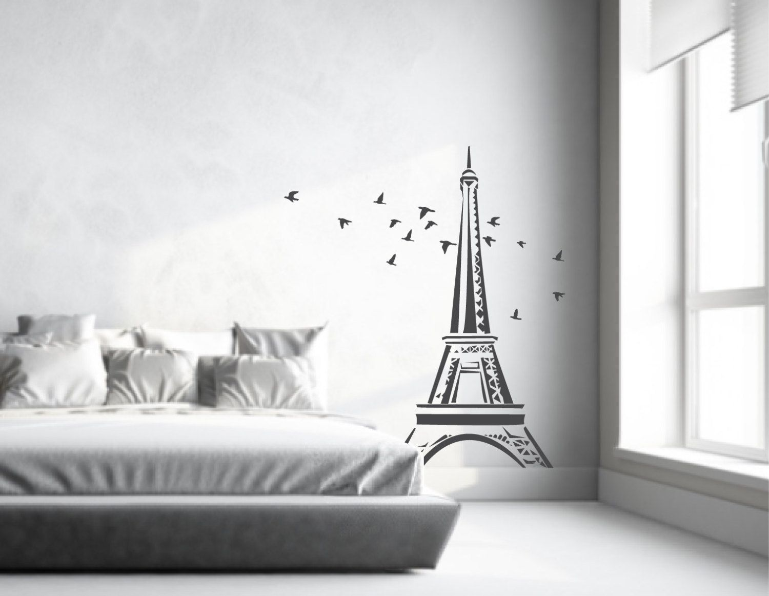 Charming Eiffel Tower Wall Sticker | Eiffel Tower Wall Decal With Flock Of Flying  Birds | Paris Wall Decor Large