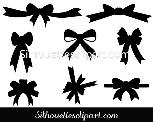 Christmas Ribbons Vector Graphics - Silhouette Clip Art