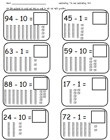 First Grade Shenanigans: Subtraction of 10 & 1 with base
