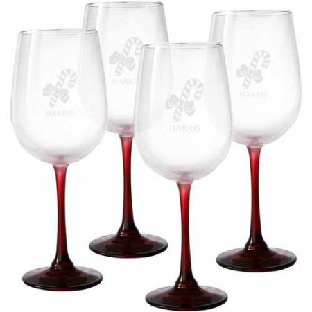 Personalized Holiday Colored Stemware, Set of 4, Red