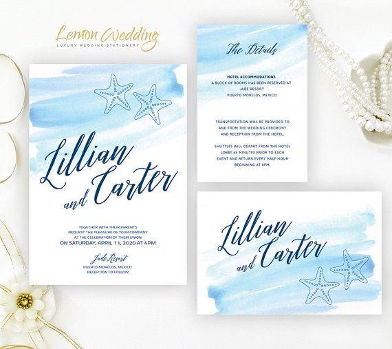 Printed Beach Wedding Invitation Set Destination Tropical