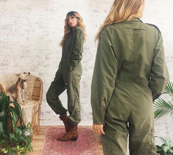 492f8416a12 LABOR DAY SALE Vintage 1970 s Military Jumpsuit Army