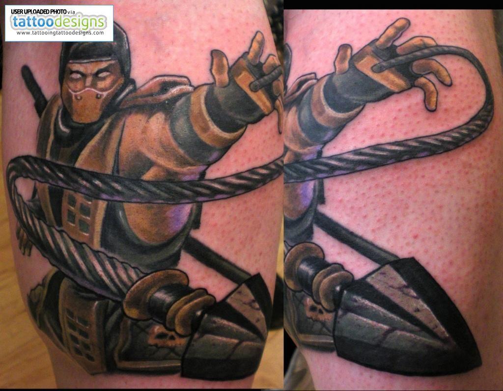 Mortal Kombat Scorpion Dagger Ninja Tattoo Beto Munoz With Images Ninja Tattoo Gaming Tattoo Martial Arts Tattoos