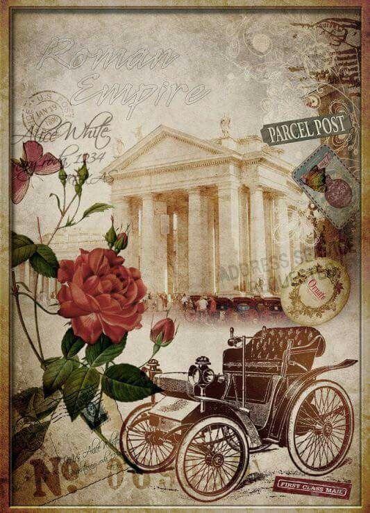Ретро города открытки, днем