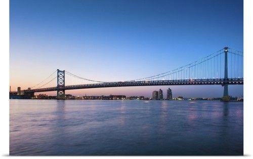 Poster Print Wall Art Print entitled Delaware River; Ben Franklin Bridge; dusk, I-676/US 30 highways, None