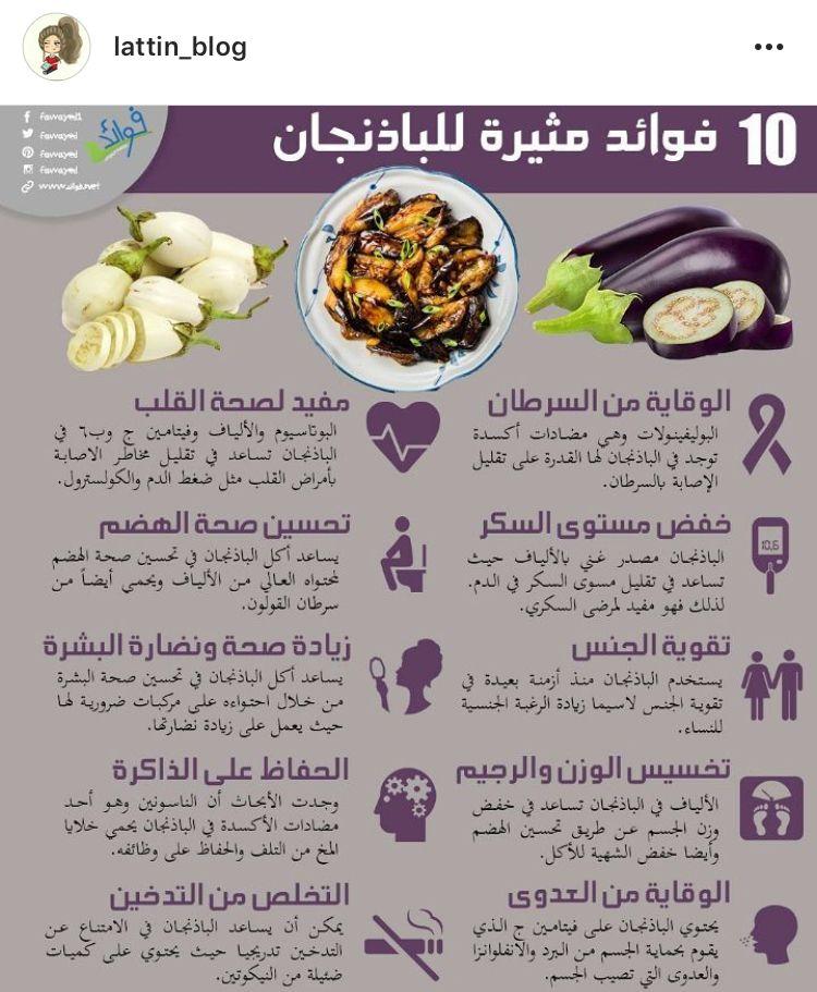 فوائد الباذنجان Health Facts Food Health And Nutrition Health Fitness Nutrition