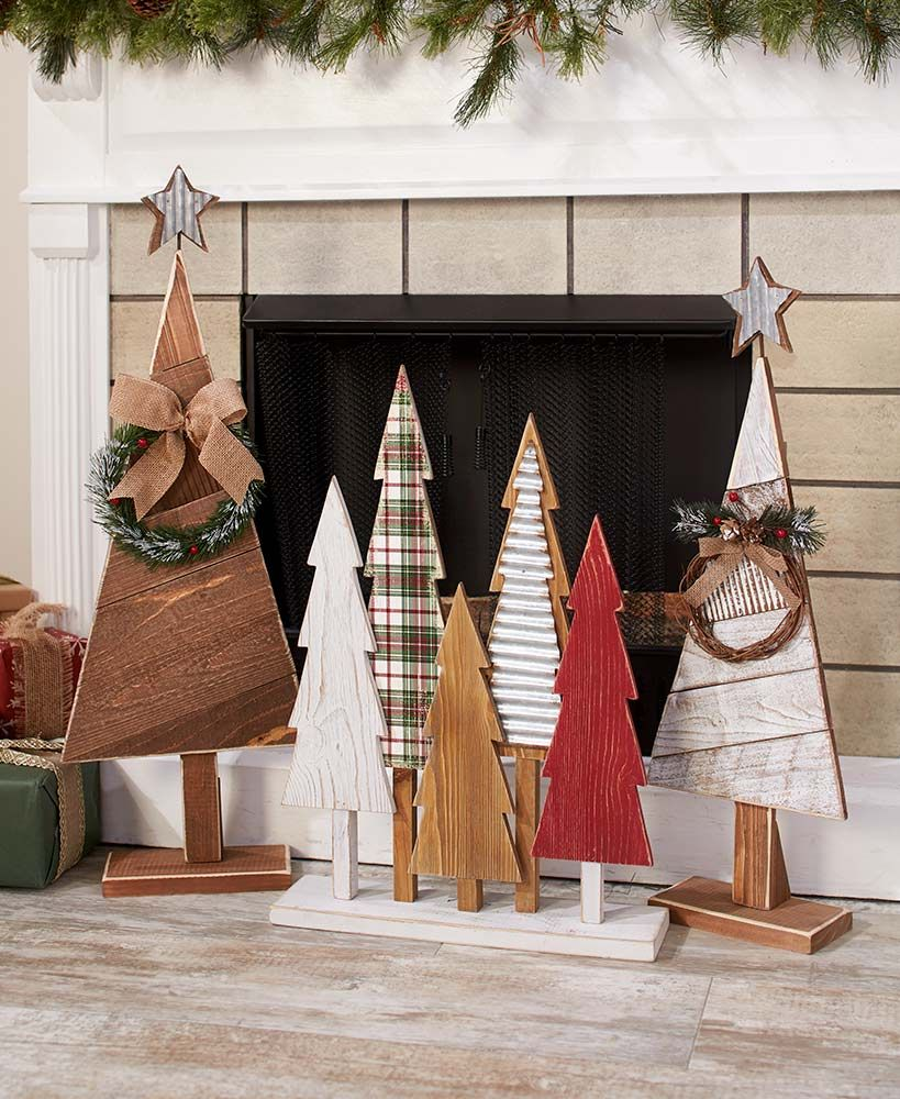 Vintage Wood Christmas Trees #christmasdecor
