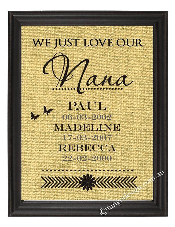 Personalized Nana Gift | Burlap Print | Personalised Grandmas birthday gift,  Mother's Day Gift for Grandma | Grandchildren Name Wall Art