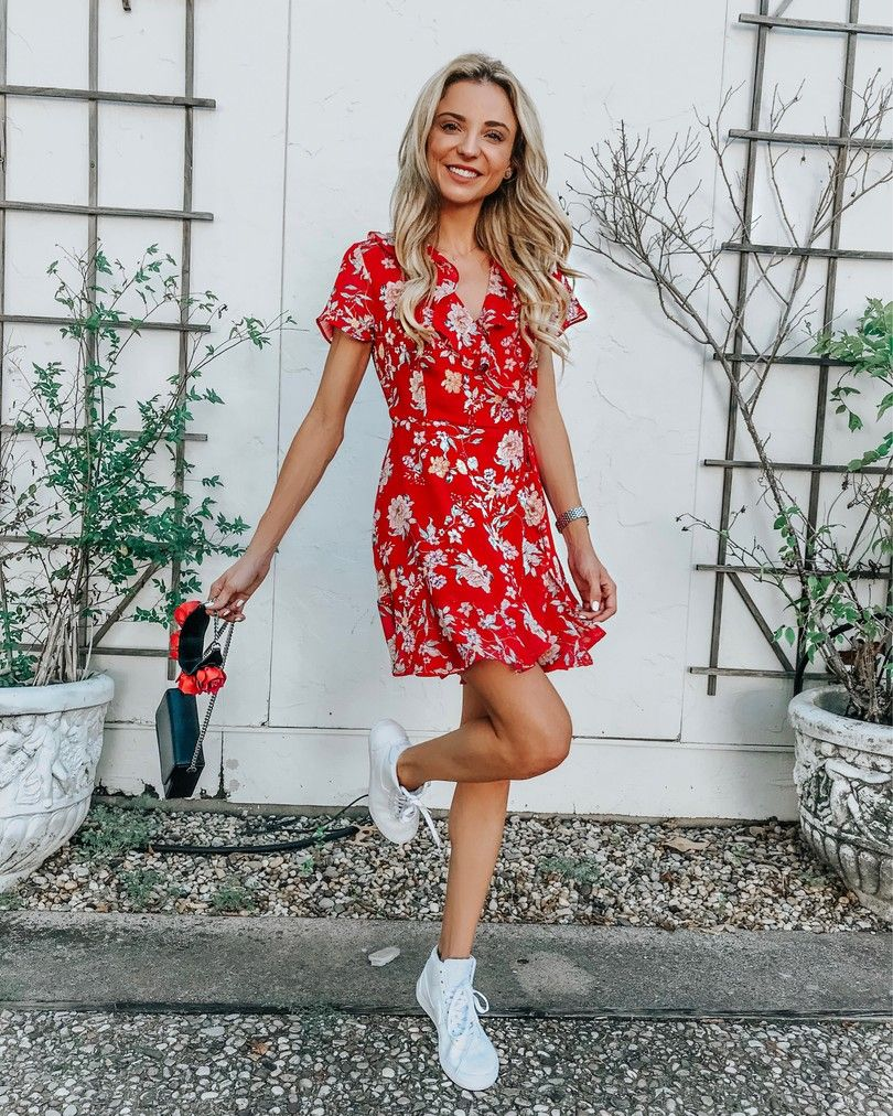 red floral dress + nike sneakers | Red