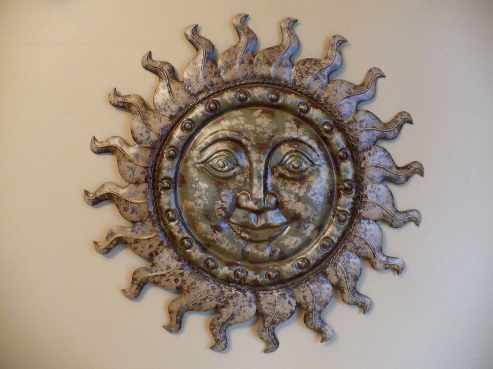 Us 29 99 Metal Sun Face 19 75 Home Wall Decor Home And Garden