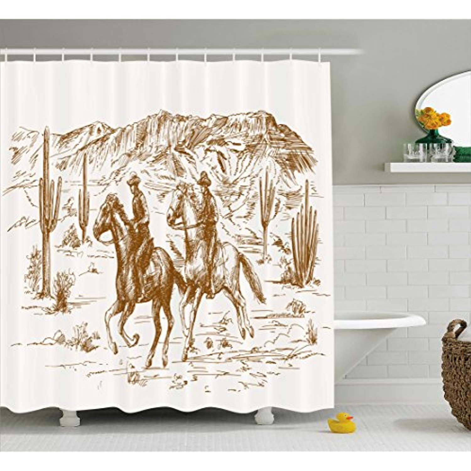 Ambesonne Western Shower Curtain By Country Theme Hand Drawn