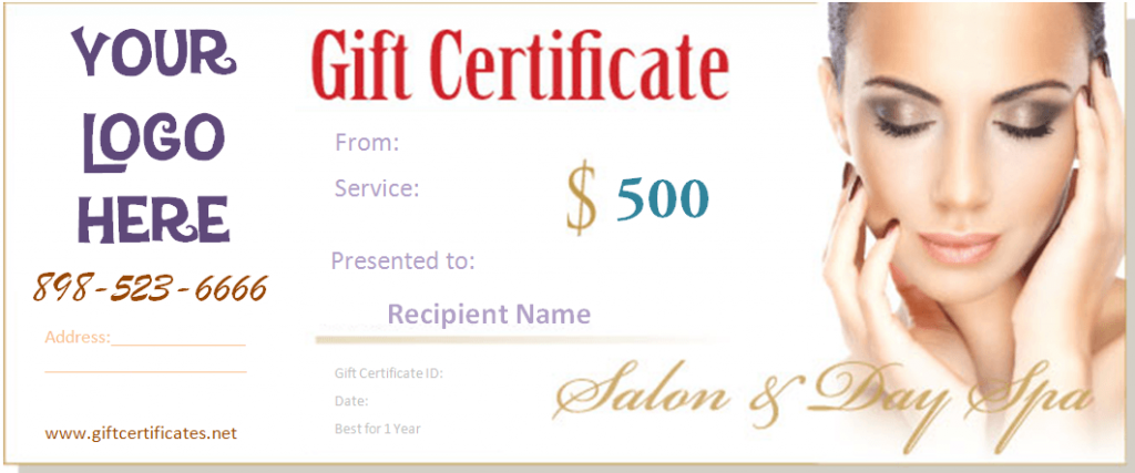 Beauty gift certificate templates by giftcertificatetemplates get our free spa gift certificate templates for beauty shops hair salons and spas and send these to your girlfriend or the person that is special to you yelopaper Image collections