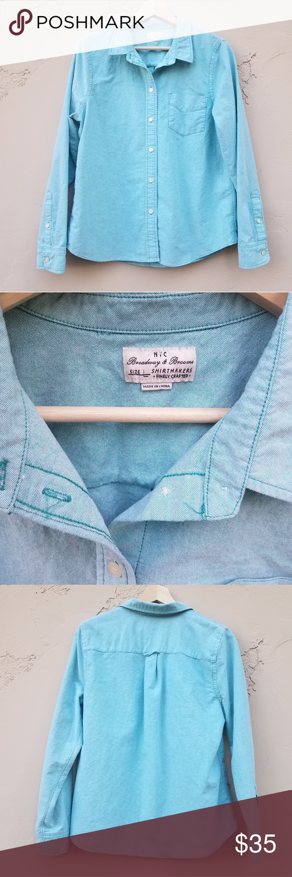 77e8d5818625 Broadway And Broome Blue Oxford Shirt Size Large Long sleeve Madewell True  Love Shrunken Oxford Button down shirt top blouse Madewell Tops Button Down  ...