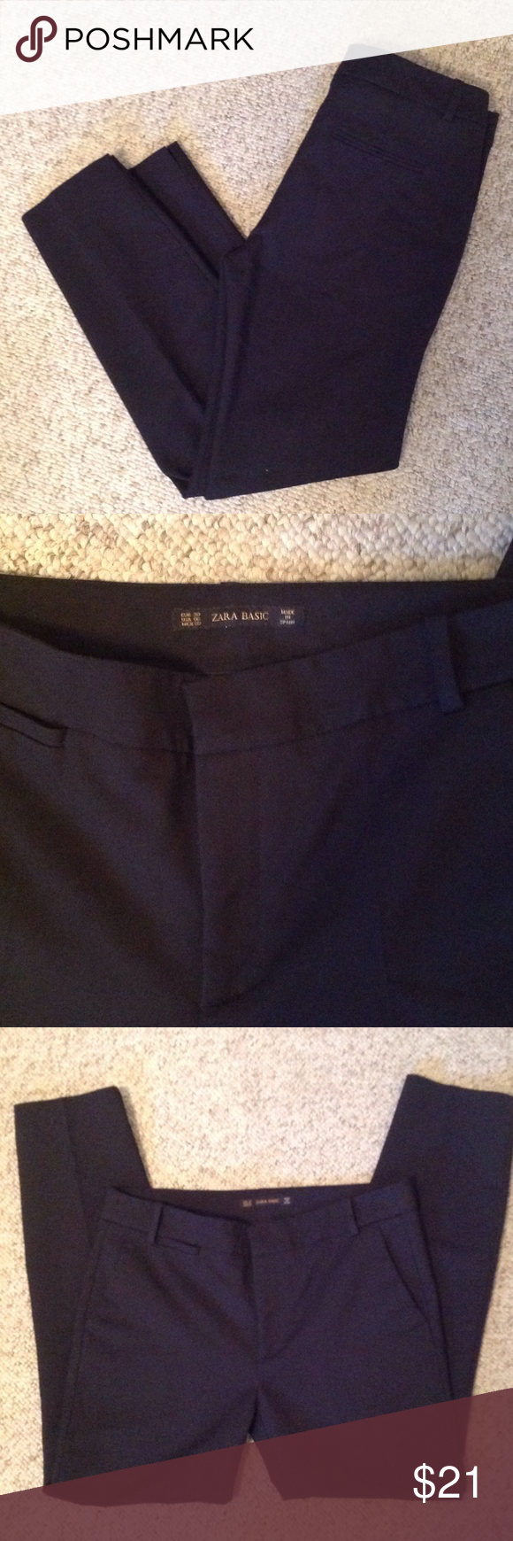 Zara black pants Zara basic black slacks. They have a very small slit at the ankle. Perfect used condition. No fading. Zara Pants