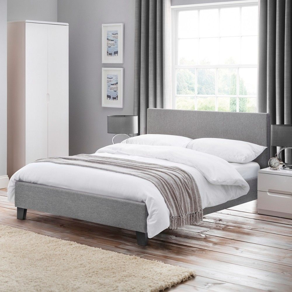 Best Rialto Light Grey Fabric Bed Frame 4Ft6 Double Grey 400 x 300