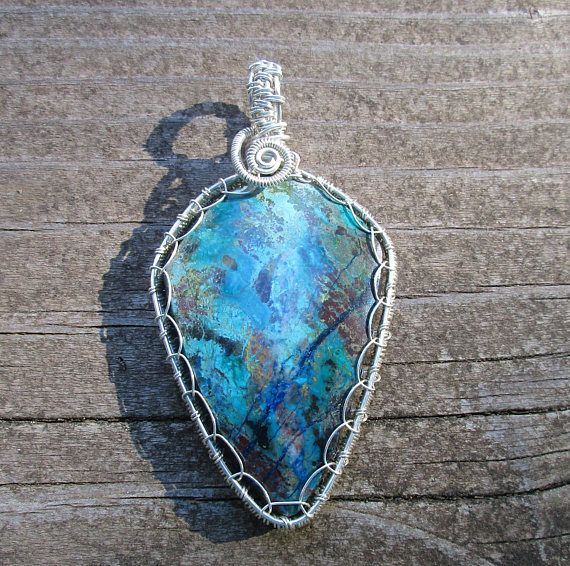 Large Chrysocolla Viking Weave Wire Wrapped Pendant in | Jewelry by ...