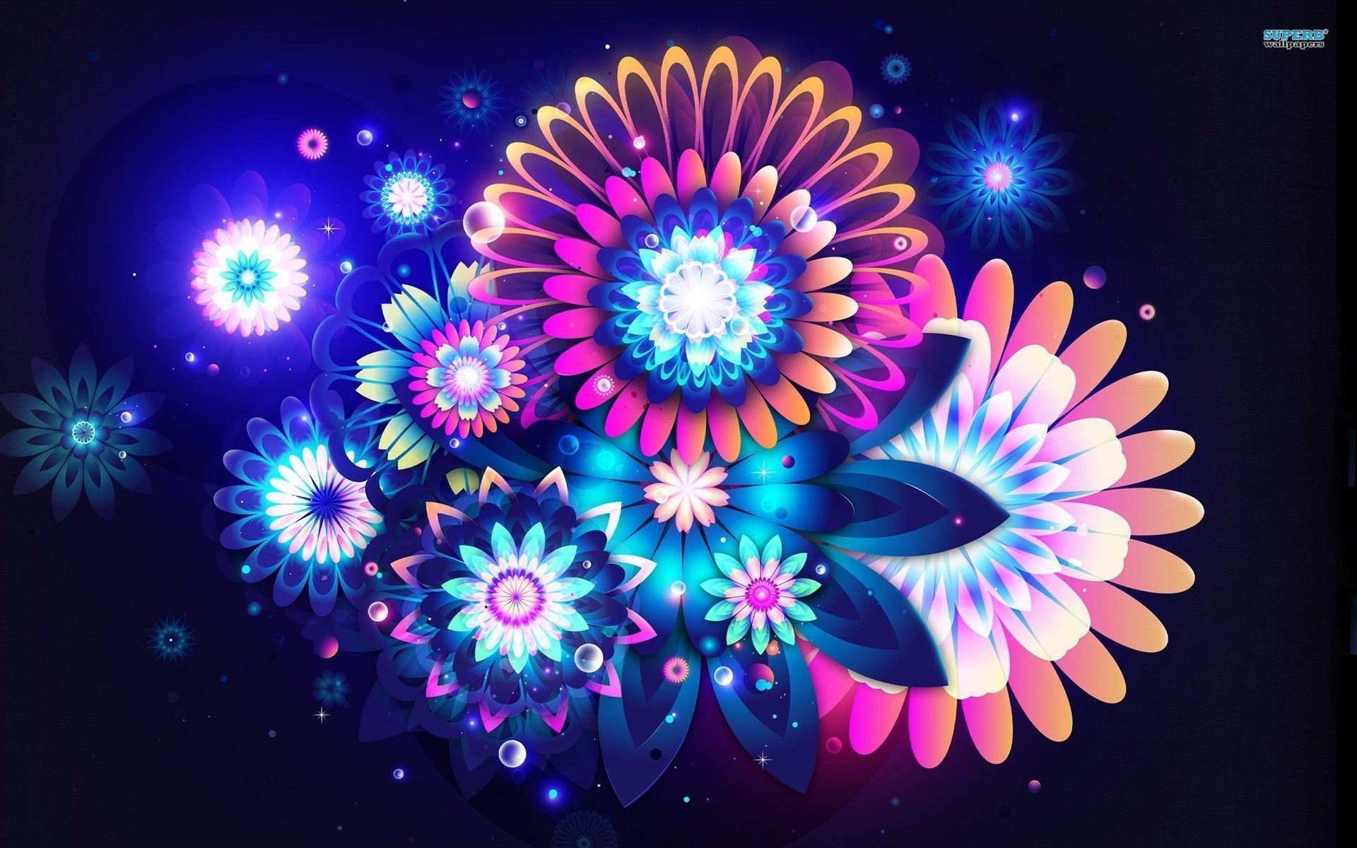 Abstract Flowers Vector Beautiful Colors Cool Abstract