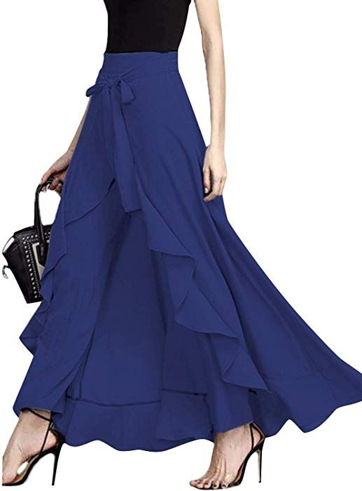 Clothing, Shoes & Accessories Giking Women Ruffle Pants Full Length Split High Waist Retro Maxi Long Skirt Xl Women's Clothing