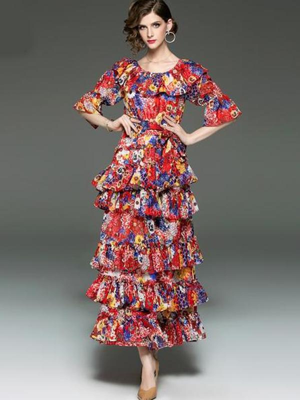 99f97031ce00a Women's Runway Designer Dress Slash Neckline Ruffles Floral Printed ...