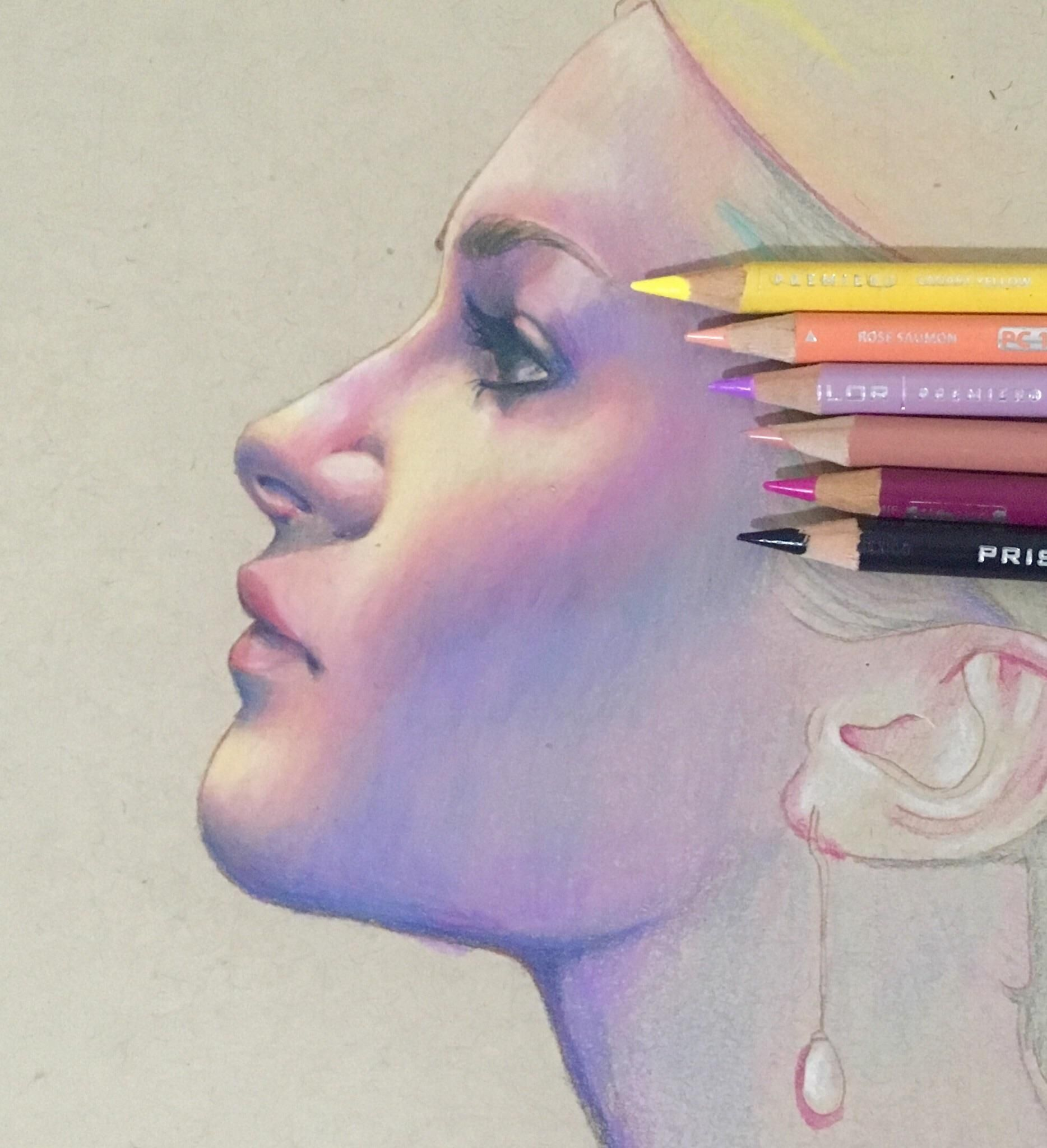 Profile Colored Pencil 9x12 Drawing Color Pencil