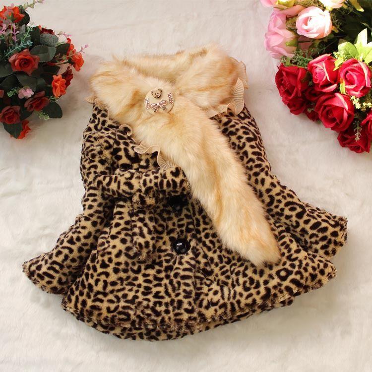 39e9ca934 Retail Girls Leopard faux fox fur lace collar coat clothing Autumn ...