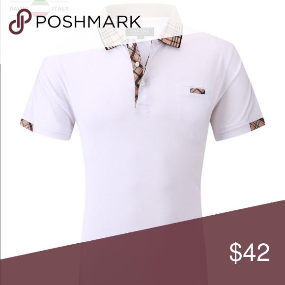Men's White Pavini Short Sleeve Polo Men's White Pavini