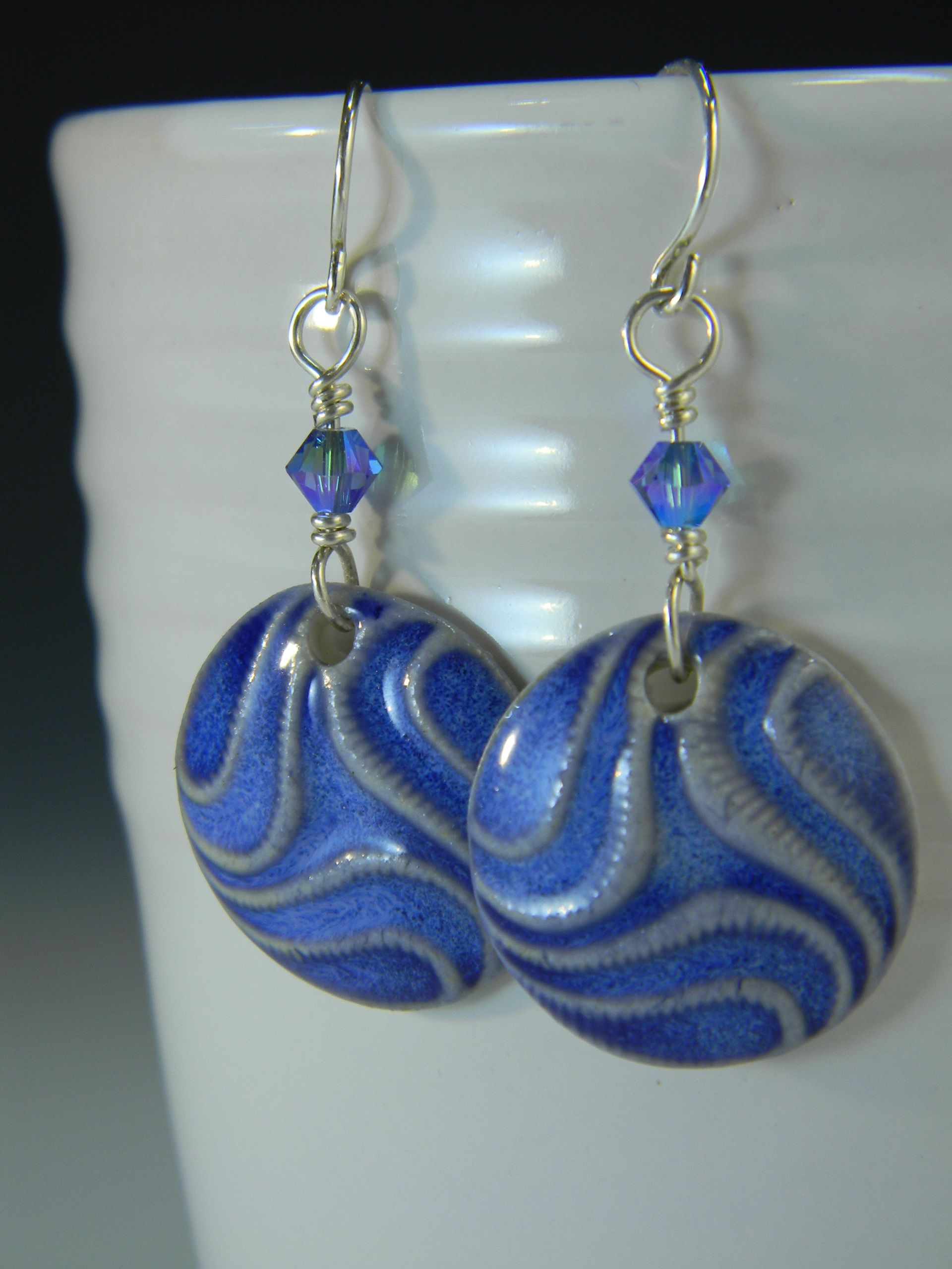 Porcelain Circle Earrings in Electric Bluewith Sterling SilverThe ...