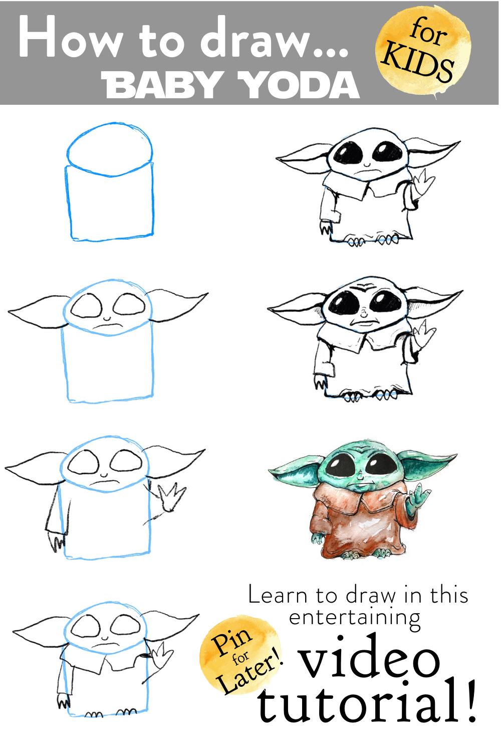 How To Draw Baby Yoda Video Drawing Tutorial Easy Step By Step Art Project For Kids Baby Drawing Drawing Tutorial Drawing Tutorial Easy