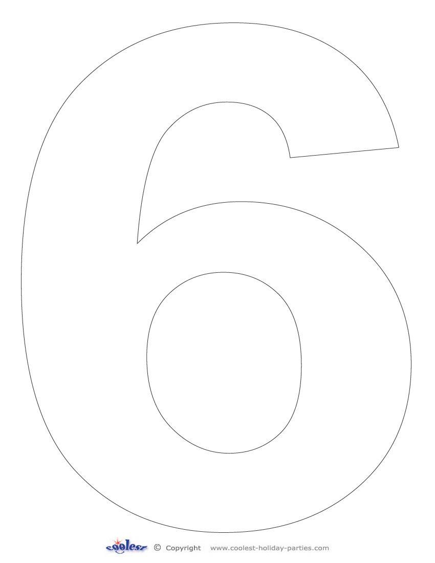 Printable Number 6 Template Free Printable Numbers Templates