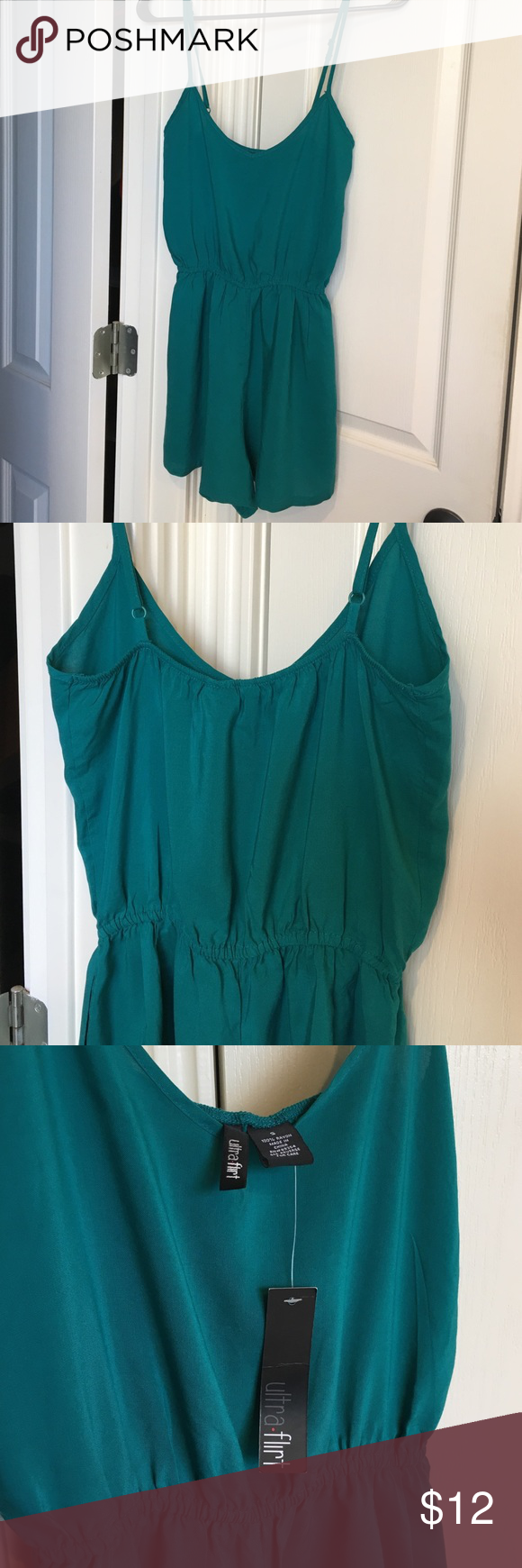 Teal Romper size S NWT! Super cute teal romper size S. Brand NWT. Has hidden side pockets. Brand is Ultra Flirt. Ultra Flirt Pants Jumpsuits & Rompers