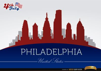 Background of Philadelphia skyline with July 4th commemoration theme with buildings and landmarks in colors of USA flag. High quality JPG included. Under Commons 4.0. Attribution License.