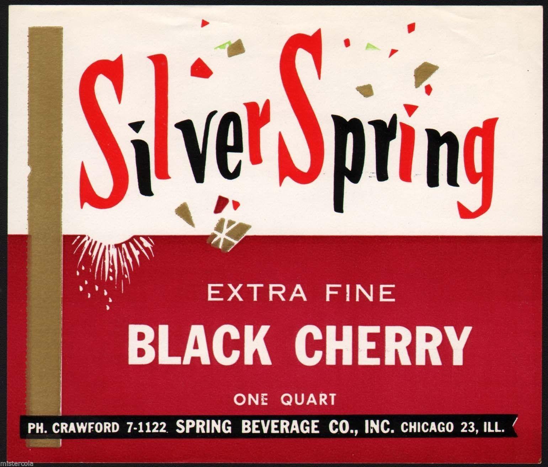 Vintage Soda Pop Bottle Label Silver Spring Black Cherry Chicago Illinois Exc Pop Bottles Soda Pop Soda Labels