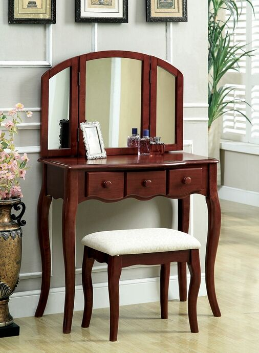 3 Pc Meriden Classic Style Cherry Finish Wood Bedroom Make Up Vanity Sitting Table Set With Tri Fold Mirror Vanity Table Set Vanity Table