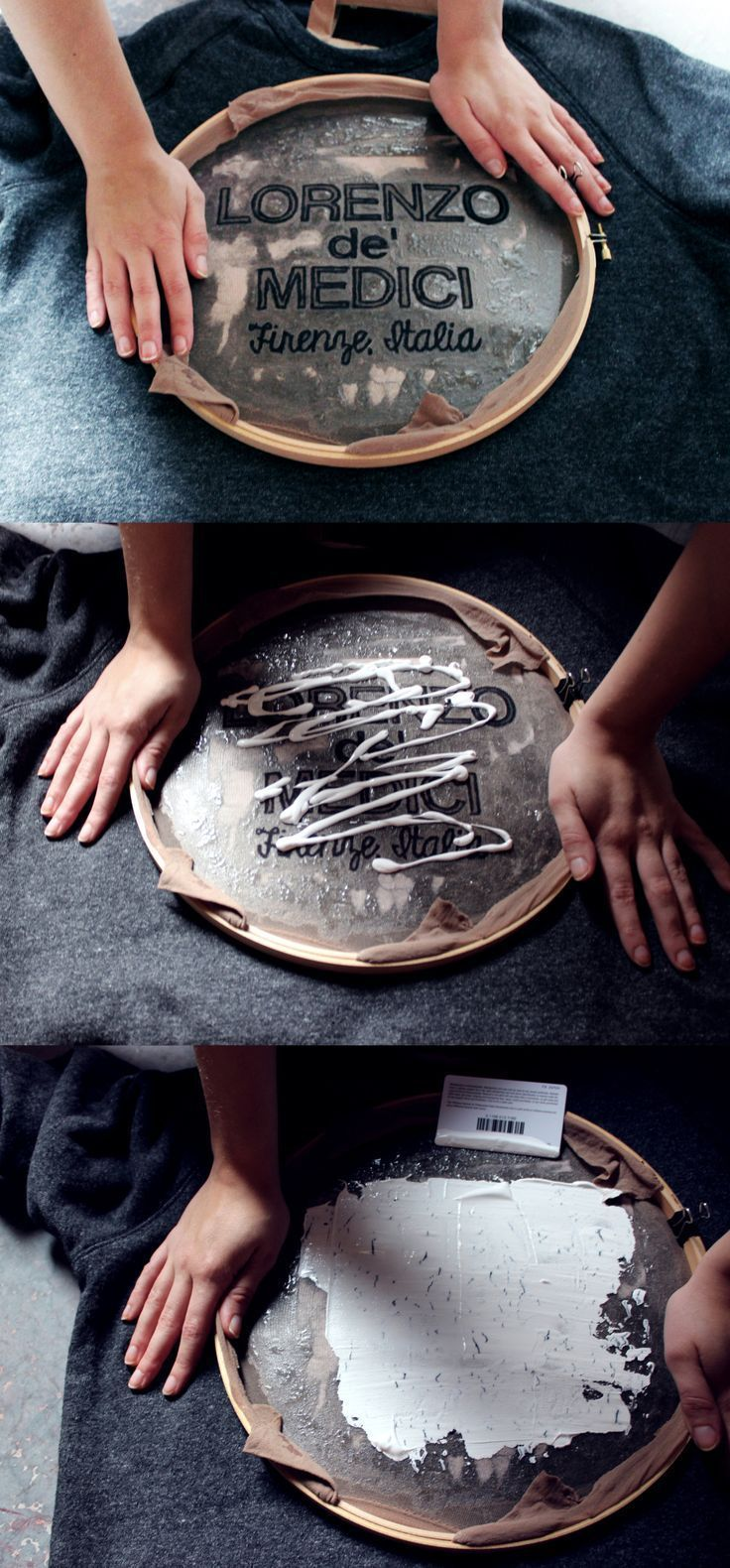 Diy screen printing with an embroidery hoop and mod