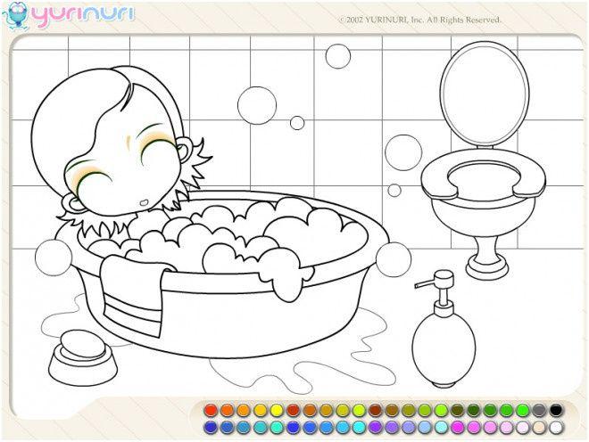 coloriage baignoire dessin gratuit a