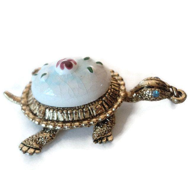 Vintage Porcelain Rose Turtle Pendant by EraAntiquesandFinds on Etsy