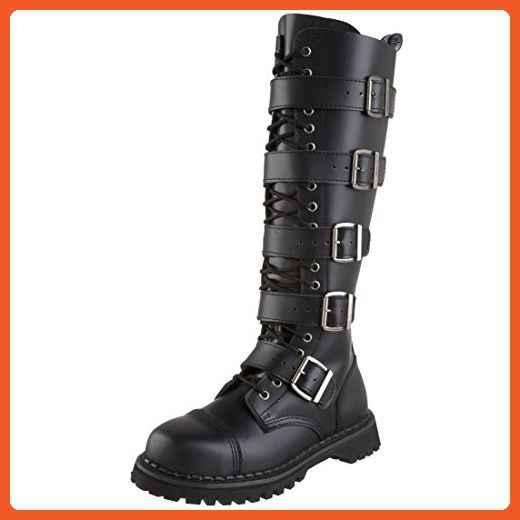 2d65dd8cc4d828 MENS Black Leather Knee High Boot 20 Eyelet 5 Strap Gothic Punk Boot Steel  Toe Size: 11 - Boots for women (*Amazon Partner-Link)