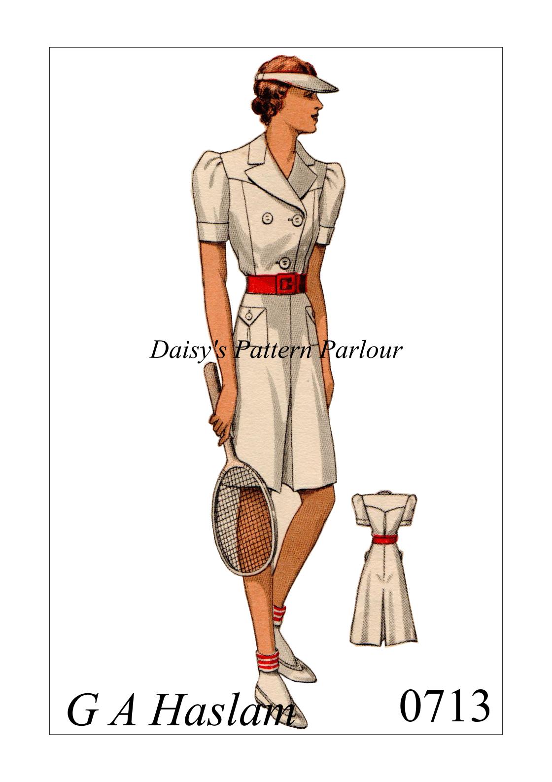 1930s tennis ensemble vintage sewing pattern. High quality multi ...