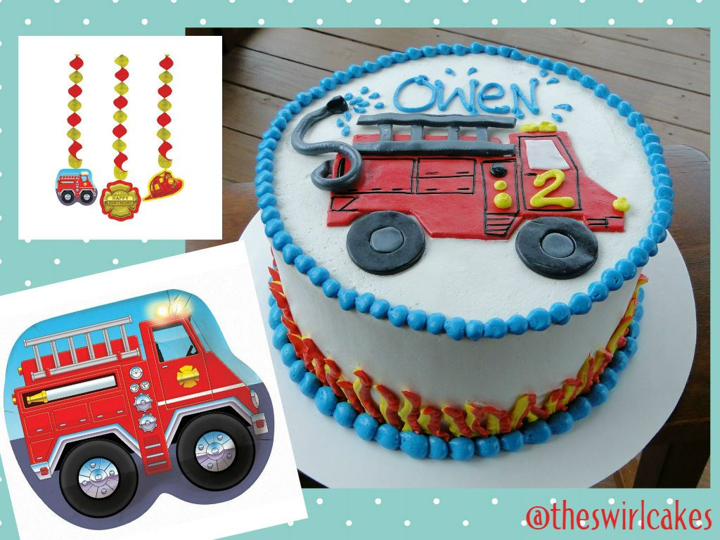 Toddler Boy Birthday Cake Fire Truck Flames Firetruck Themed Party