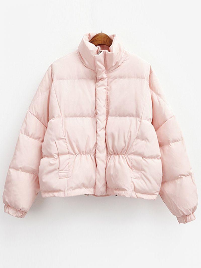 Stand Collar Zipper Loose Pink Coat