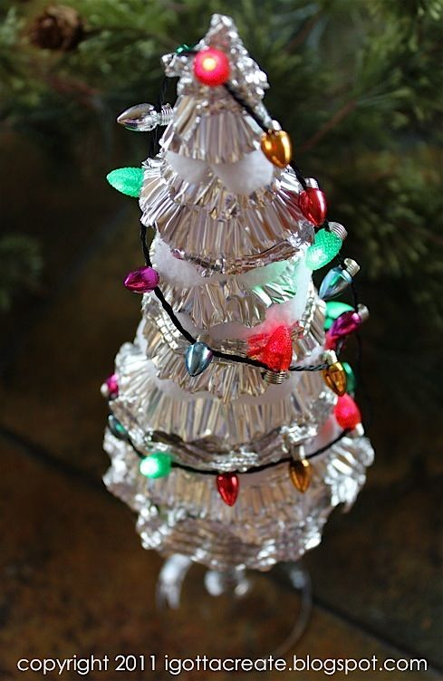 A Christmas tree created from crimped tinfoil, by I Gotta Create!