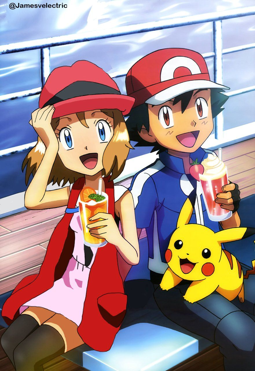 968395c65 Serena and Ash with Pikachu had a Smoothies. | Tales Of The Pokémon ...