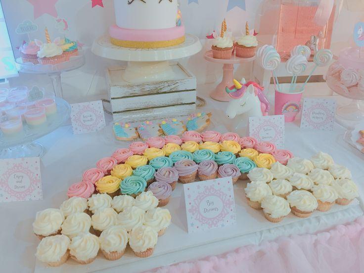 Rainbow cupcakes for Unicorns Party
