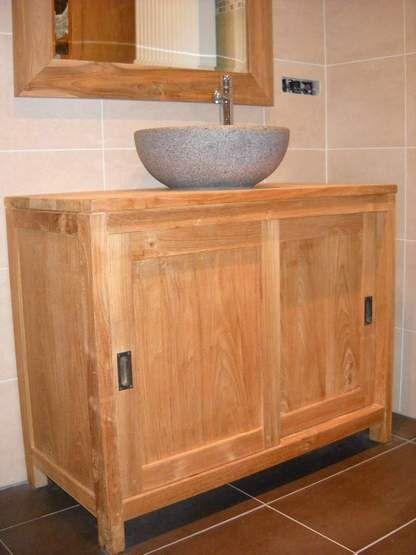 teak badkamer meubel met twee schuifdeuren - interieur teakhouten ...